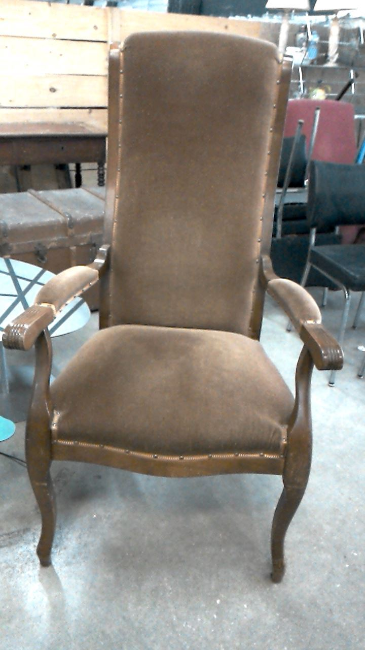 fauteuil voltaire tissu marron d 39 occasion. Black Bedroom Furniture Sets. Home Design Ideas